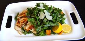 Mixed Kale and Collard Chicken Caesar Salad w/ Cornbread Croutons